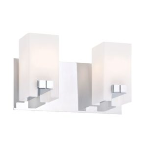 Gemelo 2 Light Vanity In Chrome And White Opal Glass by Alico