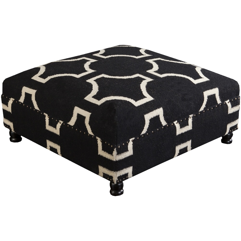 Black and Beige Fallon Ottoman by Surya