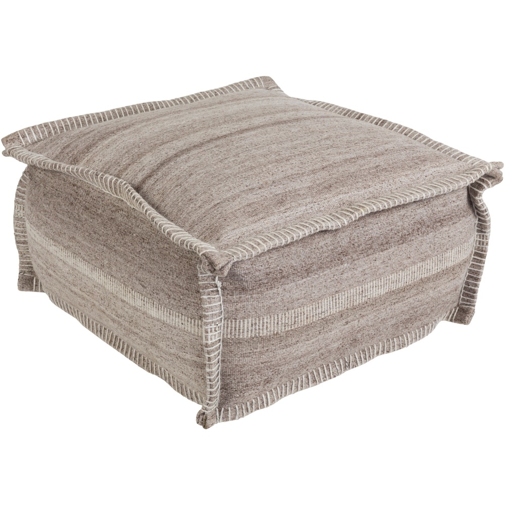 taupe and camel barnsley pouf by surya seven colonial. Black Bedroom Furniture Sets. Home Design Ideas