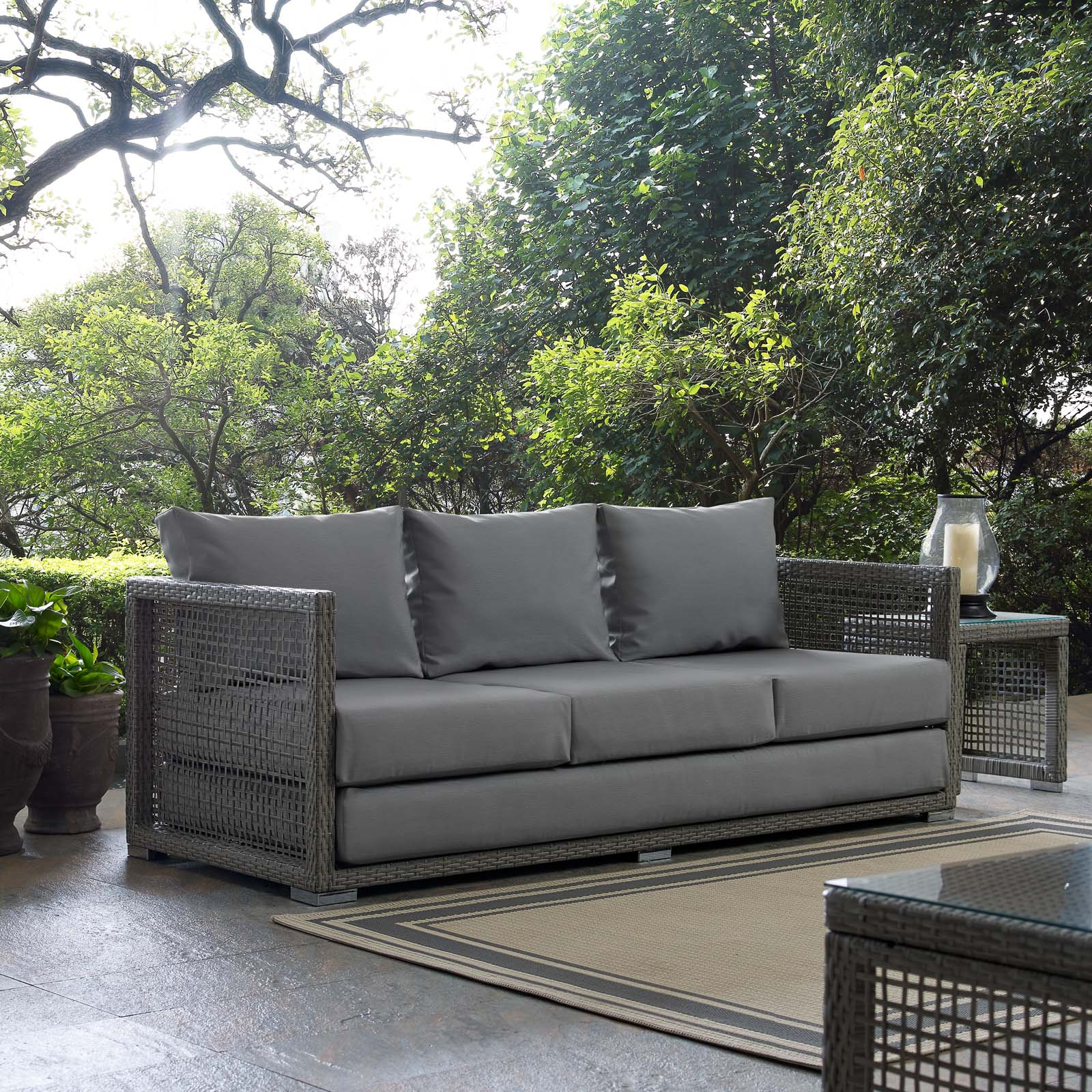 Aura Patio Wicker Rattan Sofa In Gray By Modway Seven