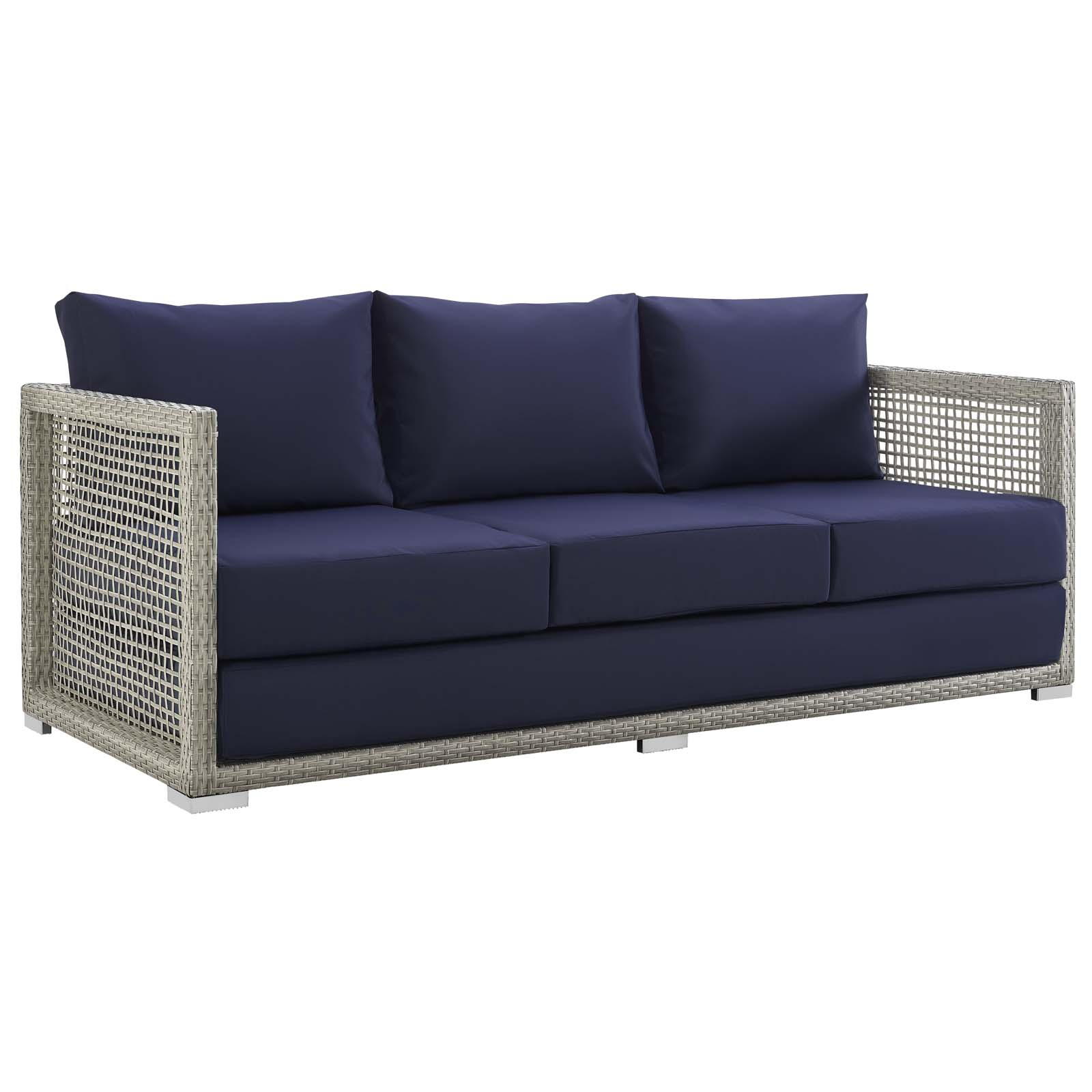 Aura Patio Wicker Rattan Sofa In Gray And Navy By Modway